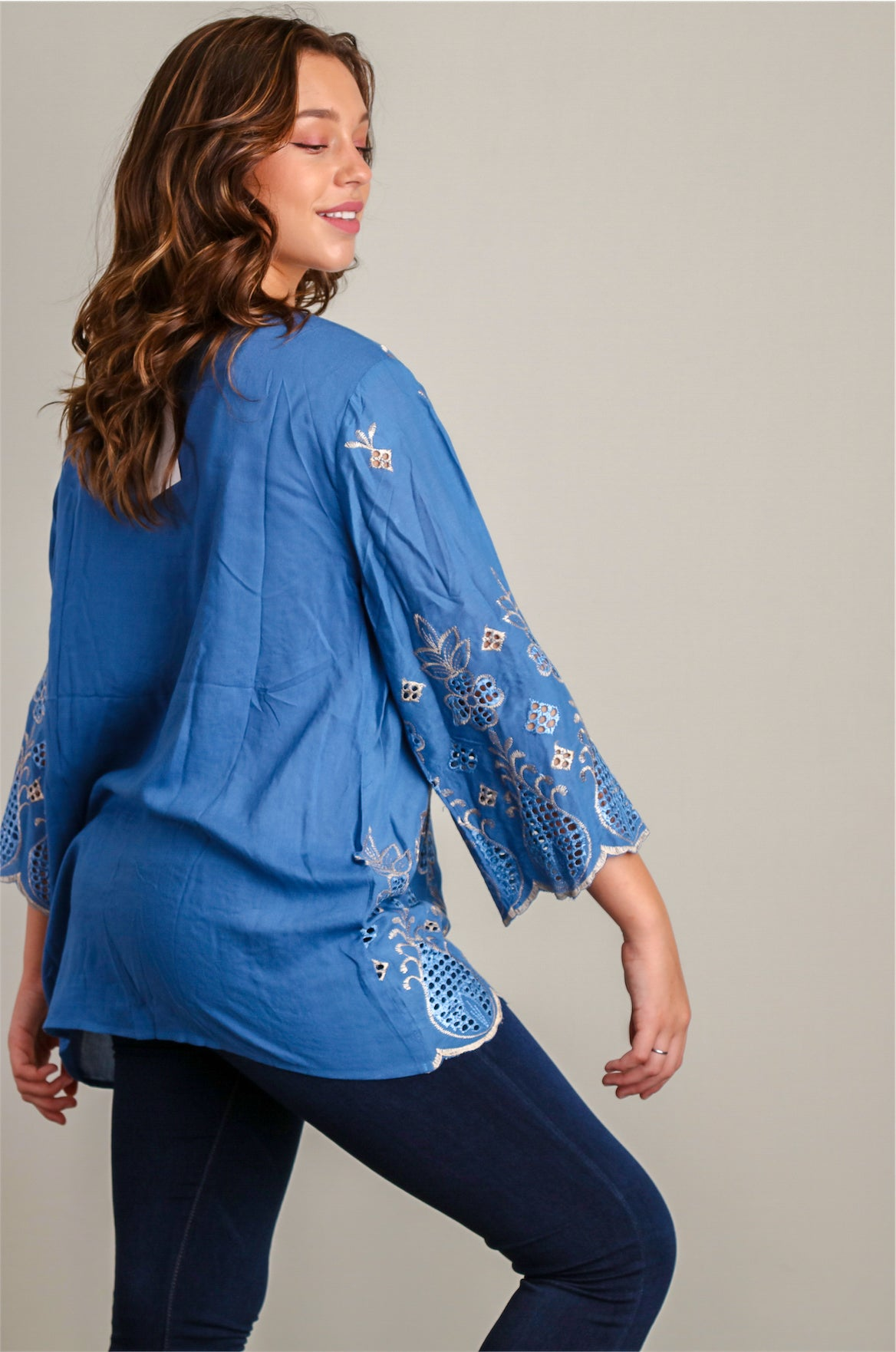 Plus Denim Eyelet Tunic