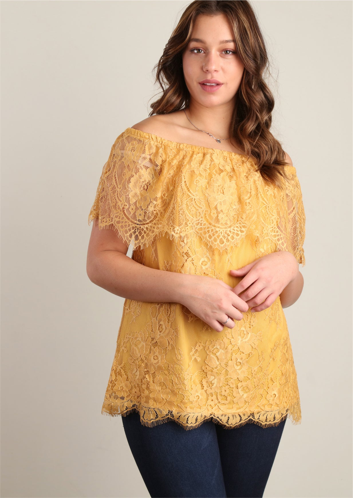 Mustard Fully Lined Lace Peasant
