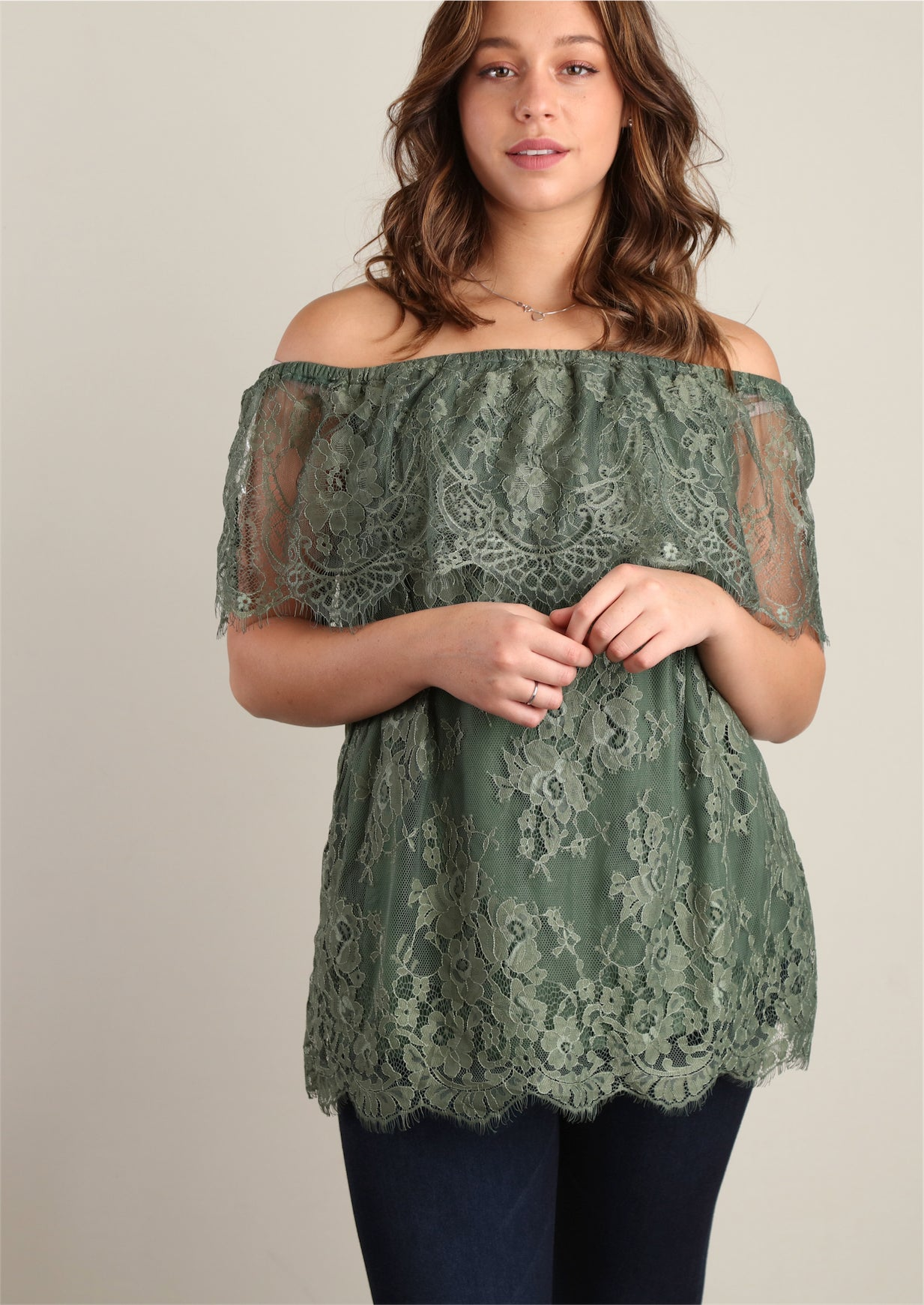 Olive Fully Lined Lace Peasant