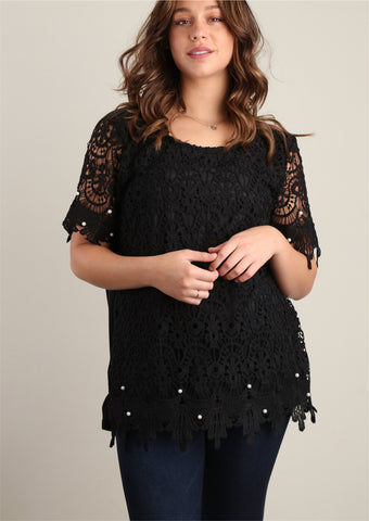 Plus Black Sweater Knit and Pearl Trim