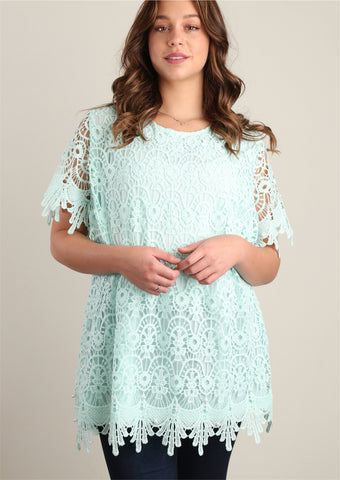 Plus Mint Sweater Knit and Pearl Trim