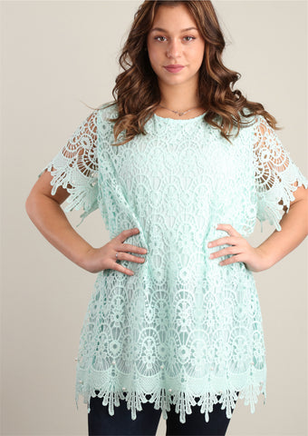 Mint Sweater Knit and Pearl Trim