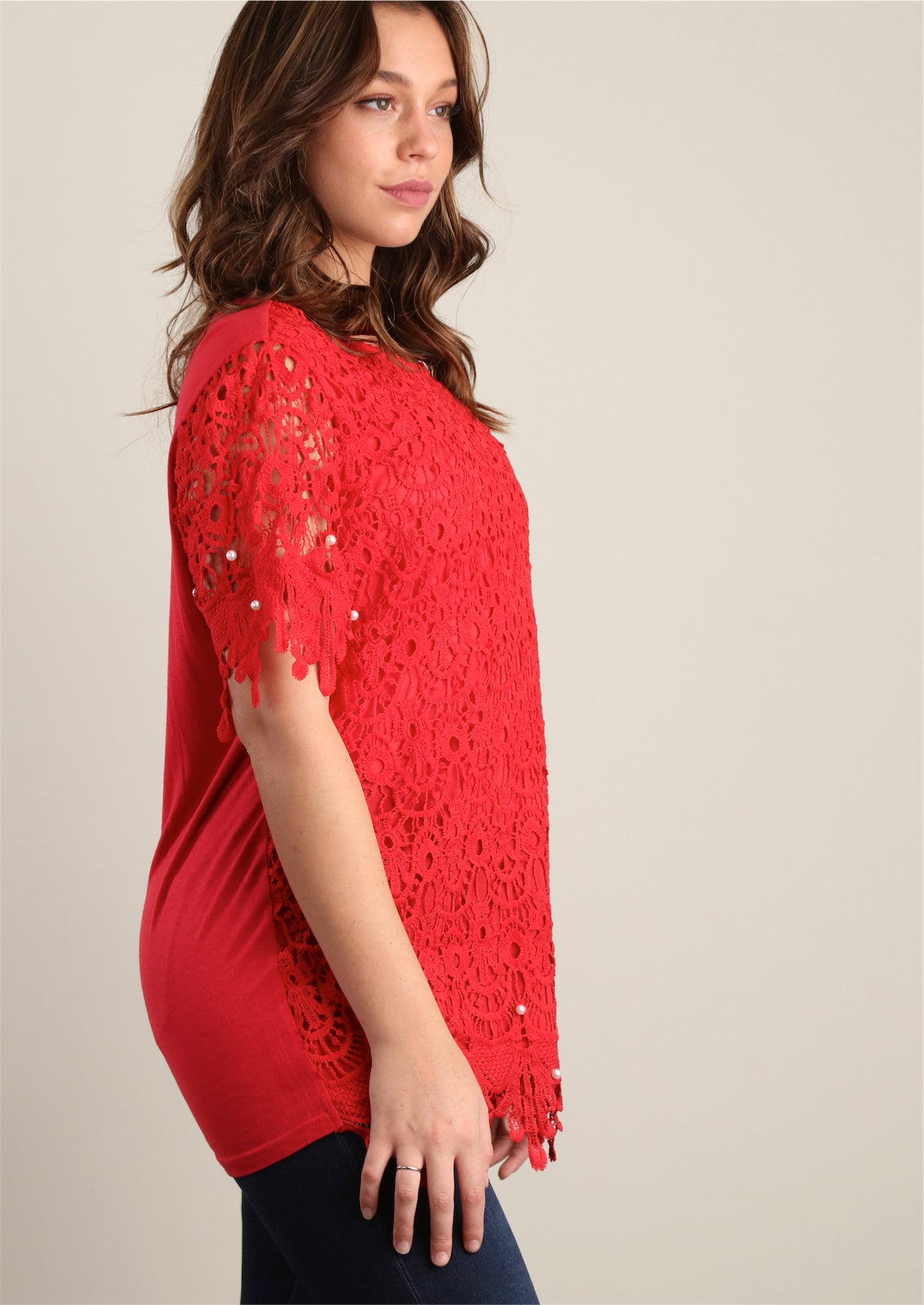 Red Sweater Knit and Pearl Trim