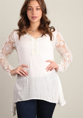 Ivory Fully Lined Crochet Trim Tunic