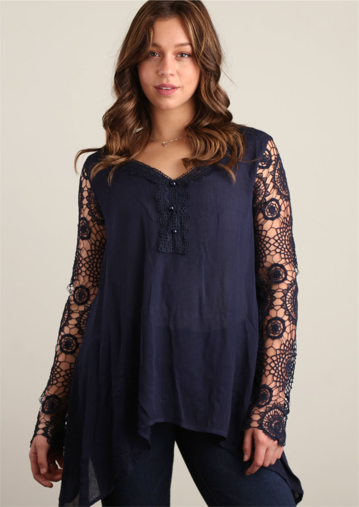 Plus Navy Fully Lined Crochet Trim Tunic
