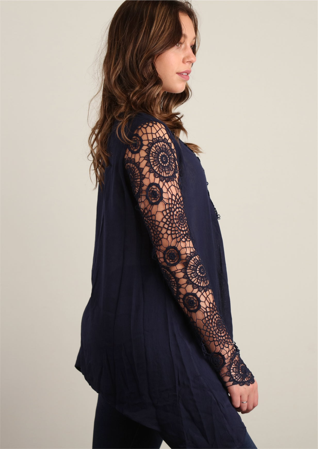 Navy Fully Lined Crochet Trim Tunic