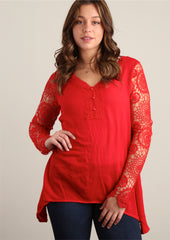Red Fully Lined Crochet Trim Tunic
