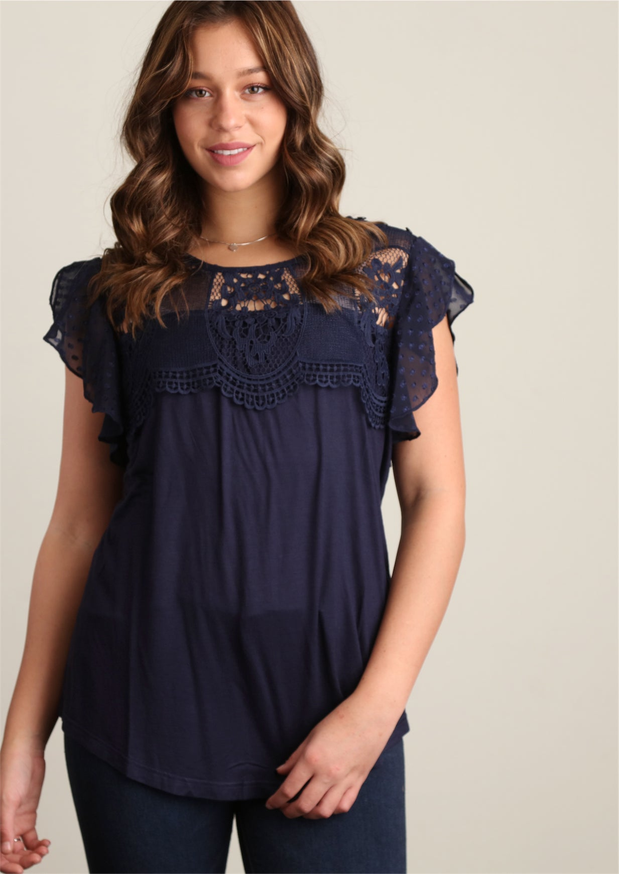 Navy Swiss Dot Lined Smocked Blouse