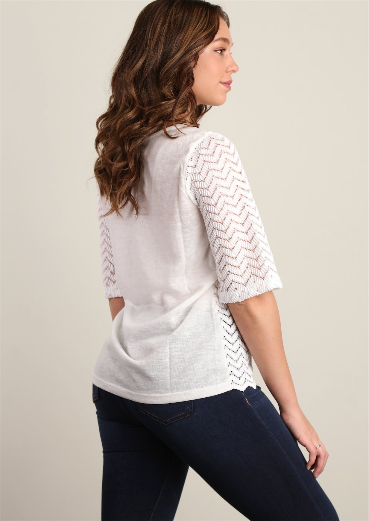 White Novelty Crochet/Pearl Blouse