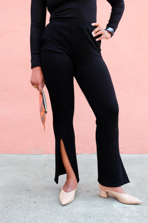 High Waist Slit Sweatpants