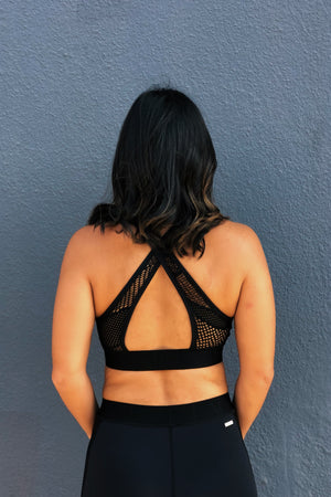 Alala Cross Back Bra in Black Lace