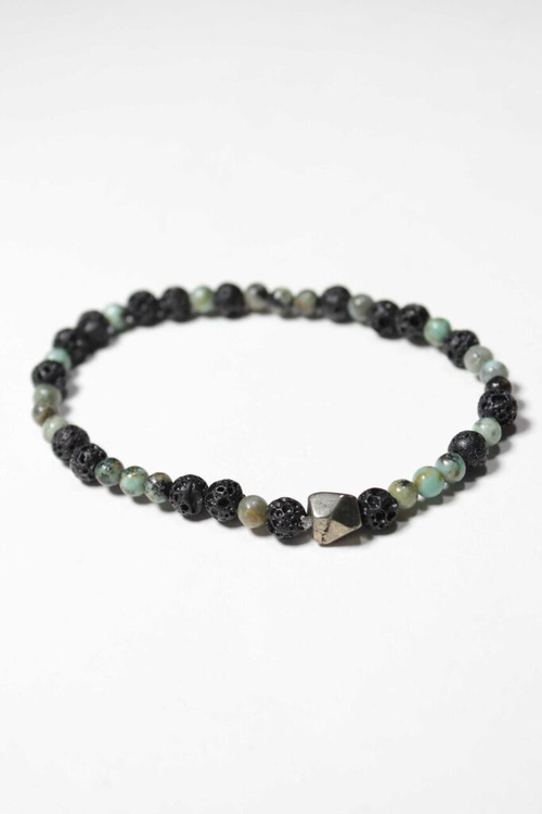 """Create"" Lava Rock and Turquoise Bracelet"