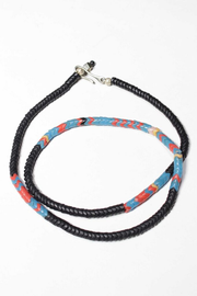 Merchant Black Snake Bead and Turquoise Necklace