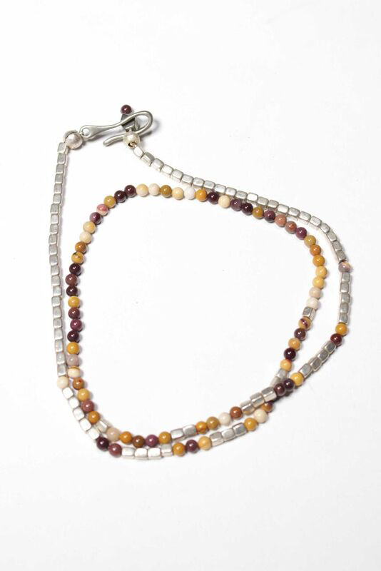 Merchant Silver and Mookaite Necklace
