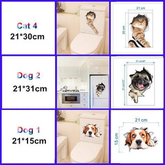 ADORABLE 3D Toilet Stickers for Bathroom Room Decoration