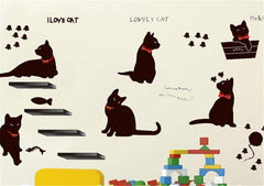 ADORABLE Black Cat Family Wall Decals Decoration