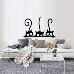ADORABLE Three Black Cat Wall Stickers