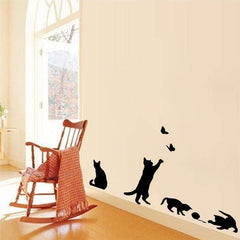 ADORABLE Wall Sticker - Cats Play Butterfly and Ball