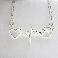Animal Paws with Heart and Heartbeat Necklace