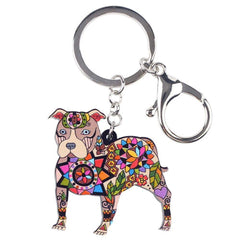 Boston Terrier Pit Bull Keychain