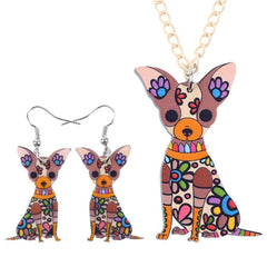 Chihuahua Dog Necklace and Earrings Jewelry Set
