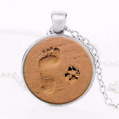 Dog Lover Necklace With Pendant - Paw & Footprint (Free Shipping!)