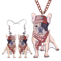 French Bulldog Necklace and Earrings Jewelry Set