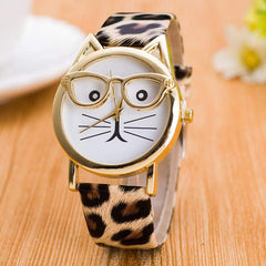 Leopard Cat Face Geneva Watch