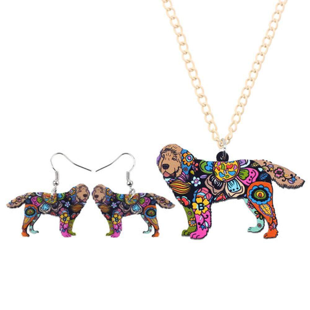 Newfoundland Dog Necklace and Earrings Jewelry Set