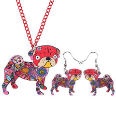 Pug Dog Necklace and Earrings Jewelry Set