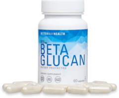 Small Better Way Health Beta Glucan Bottle with Capsules Around It
