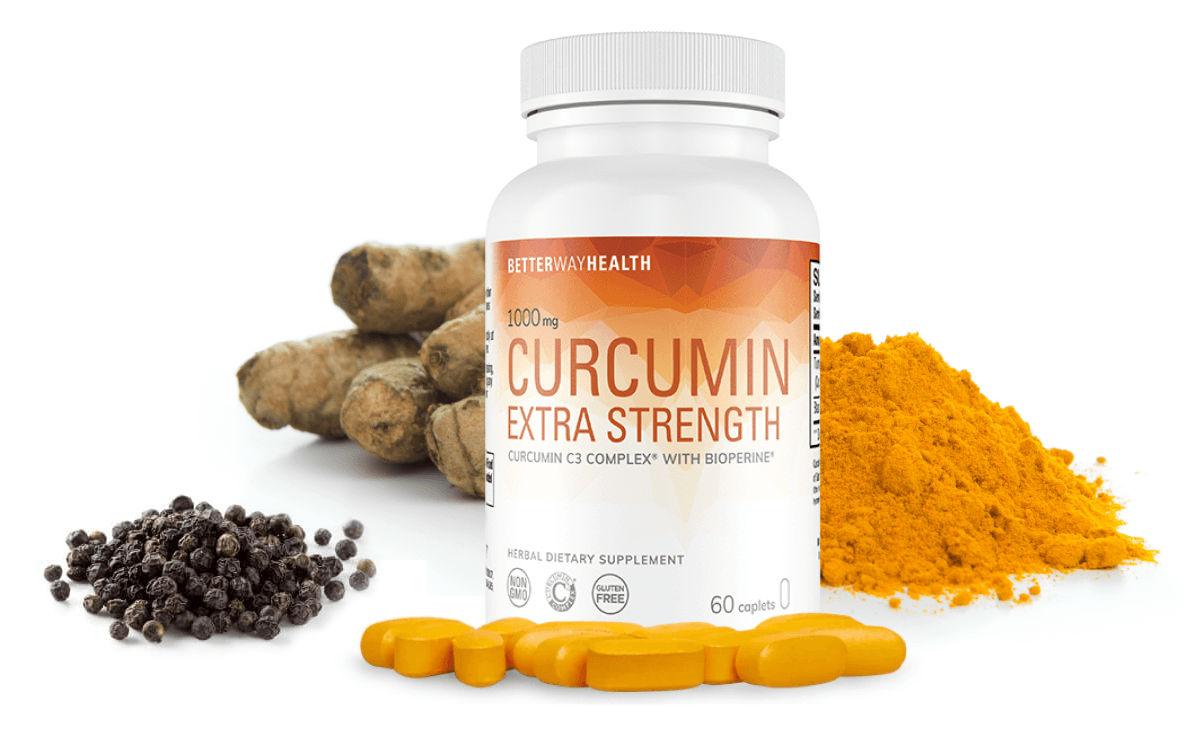 Curcumin Bottle With Ingredients Laid Out