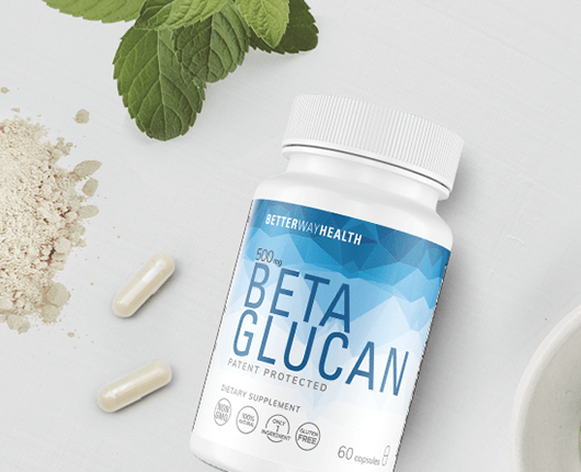 Better Way Health Beta Glucan Bottle With Capsules And Glucan Powder On Table