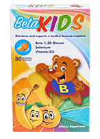 Box of beta kids with beta bear and fruit flavors