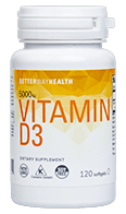 White and yellow Vitamin D3 bottle