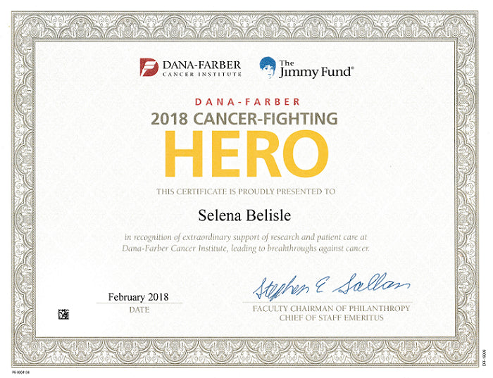 Selena Belisle wins Dana Farber Certificate for Oncology Education