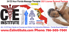 24 CE Hour 2021 Florida Licensed Massage Therapist Renewal Package $99