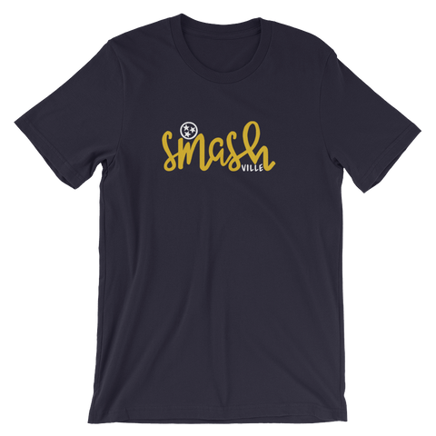 HOME tennessee // SMASHVILLE unisex tee, navy triblend with gold & white design