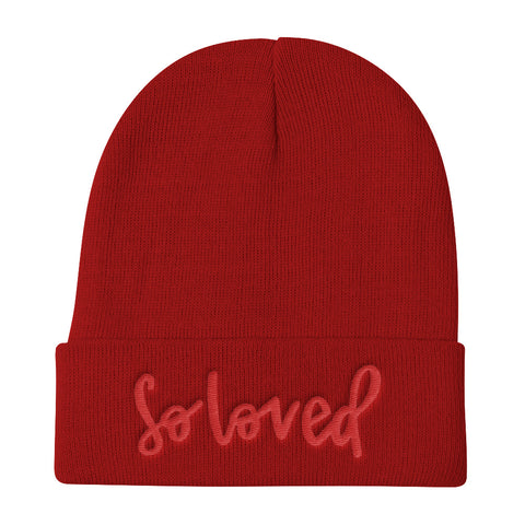 Knit Beanie // SO LOVED (red on red)