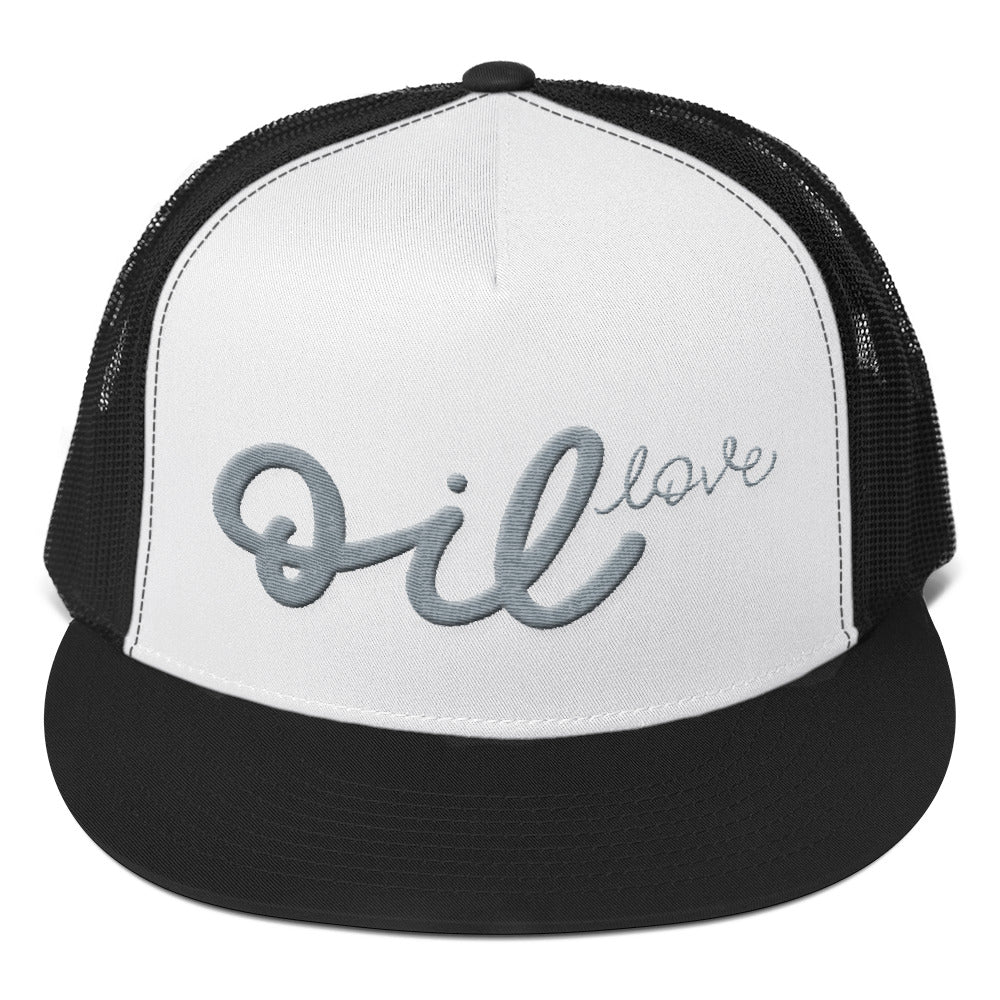 OIL LOVE // Trucker Cap, Grey Embroidery