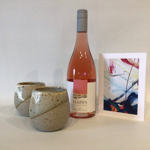 Mother's Day Gift Pack with Rose and Ceramic Wine Tumblers