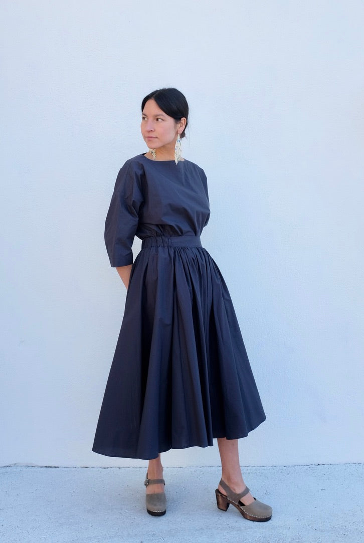Black Crane Petal Skirt / Faded Black