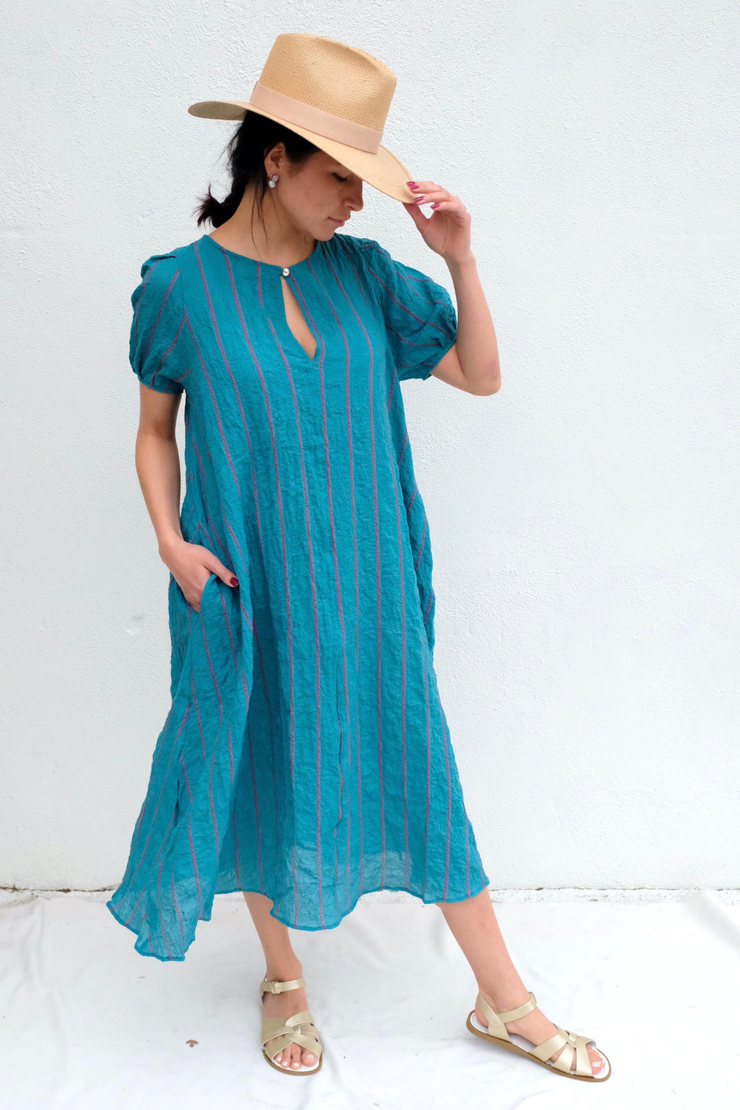 Pietsie Springs Dress /  Turqoise & Pink Shadow Stripe