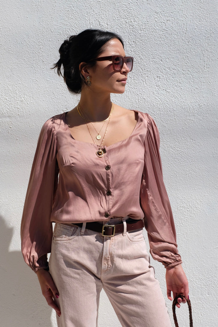 Abel Silk Top / Dusty Rose