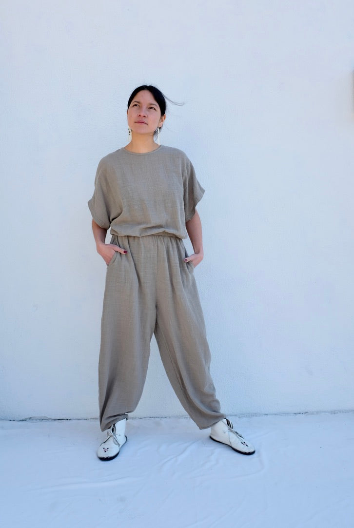 Black Crane Easy Jumpsuit / Stone