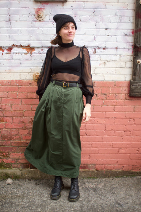 Girls of Dust Service Skirt  / Rip Stop - Forest Green