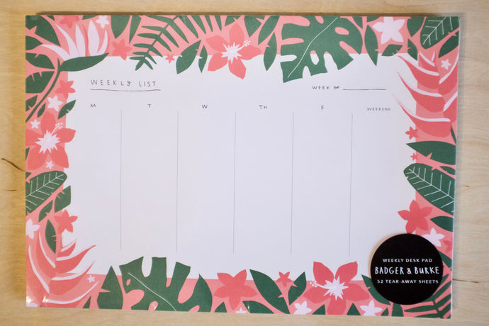 Badger & Burke Tropical Weekly Desk Pad