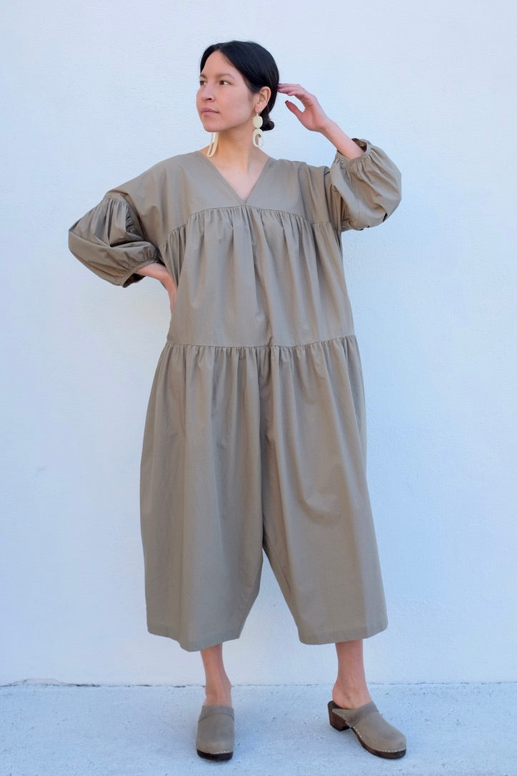 Black Crane Puff Jumpsuit / Clay