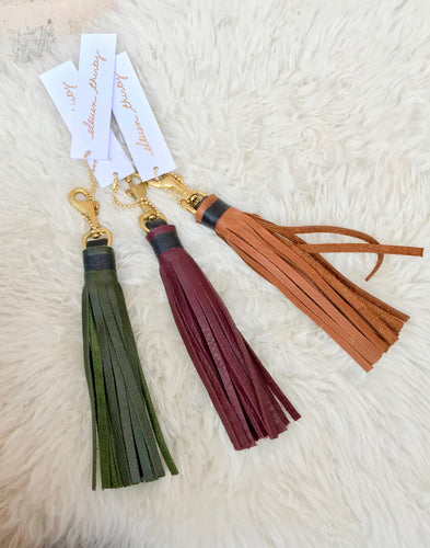 Eleven Thirty Leather Tassel in Bordeaux, Black, Bronze and Olive