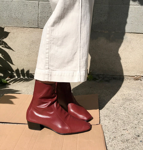 Rachel Comey Cove Ankle Boots in Bordo Kidskin Leather